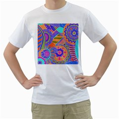 Pop Art Paisley Flowers Ornaments Multicolored 3 Men s T Shirt (white) (two Sided)