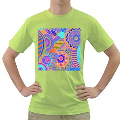 Pop Art Paisley Flowers Ornaments Multicolored 3 Green T Shirt