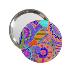Pop Art Paisley Flowers Ornaments Multicolored 3 2 25  Handbag Mirrors
