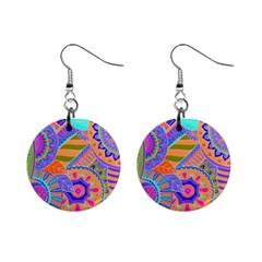 Pop Art Paisley Flowers Ornaments Multicolored 3 Mini Button Earrings by EDDArt