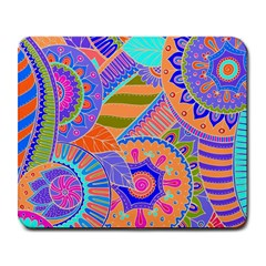 Pop Art Paisley Flowers Ornaments Multicolored 3 Large Mousepads