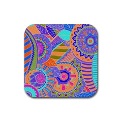 Pop Art Paisley Flowers Ornaments Multicolored 3 Rubber Square Coaster (4 Pack)