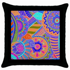 Pop Art Paisley Flowers Ornaments Multicolored 3 Throw Pillow Case (black)