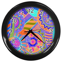 Pop Art Paisley Flowers Ornaments Multicolored 3 Wall Clock (black)