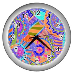 Pop Art Paisley Flowers Ornaments Multicolored 3 Wall Clock (silver)