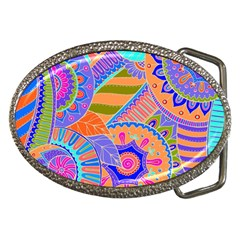 Pop Art Paisley Flowers Ornaments Multicolored 3 Belt Buckles