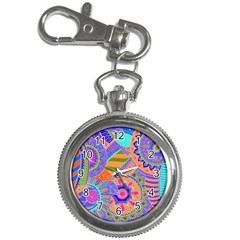 Pop Art Paisley Flowers Ornaments Multicolored 3 Key Chain Watches by EDDArt