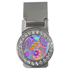 Pop Art Paisley Flowers Ornaments Multicolored 3 Money Clips (cz)