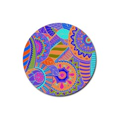 Pop Art Paisley Flowers Ornaments Multicolored 3 Rubber Round Coaster (4 Pack)