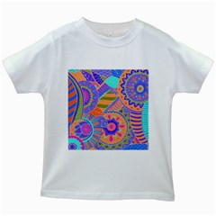 Pop Art Paisley Flowers Ornaments Multicolored 3 Kids White T Shirts