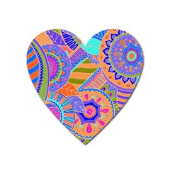 Pop Art Paisley Flowers Ornaments Multicolored 3 Heart Magnet