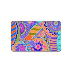 Pop Art Paisley Flowers Ornaments Multicolored 3 Magnet (name Card)