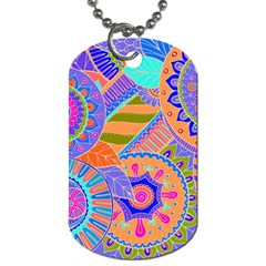 Pop Art Paisley Flowers Ornaments Multicolored 3 Dog Tag (one Side)