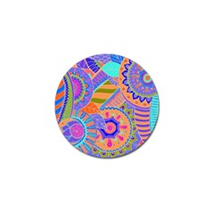Pop Art Paisley Flowers Ornaments Multicolored 3 Golf Ball Marker