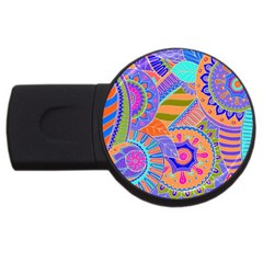 Pop Art Paisley Flowers Ornaments Multicolored 3 Usb Flash Drive Round (2 Gb)