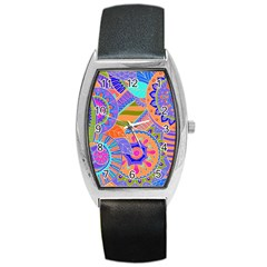 Pop Art Paisley Flowers Ornaments Multicolored 3 Barrel Style Metal Watch by EDDArt