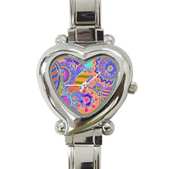 Pop Art Paisley Flowers Ornaments Multicolored 3 Heart Italian Charm Watch