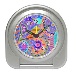 Pop Art Paisley Flowers Ornaments Multicolored 3 Travel Alarm Clock