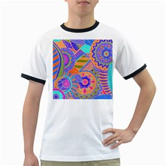 Pop Art Paisley Flowers Ornaments Multicolored 3 Ringer T Shirts