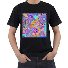Pop Art Paisley Flowers Ornaments Multicolored 3 Men s T Shirt (black) (two Sided)
