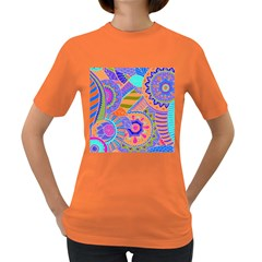 Pop Art Paisley Flowers Ornaments Multicolored 3 Women s Dark T Shirt