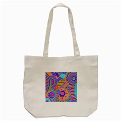 Pop Art Paisley Flowers Ornaments Multicolored 3 Tote Bag (cream)