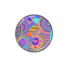 Pop Art Paisley Flowers Ornaments Multicolored 3 Hat Clip Ball Marker (4 Pack)