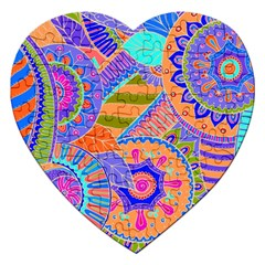 Pop Art Paisley Flowers Ornaments Multicolored 3 Jigsaw Puzzle (heart)