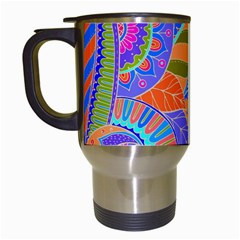 Pop Art Paisley Flowers Ornaments Multicolored 3 Travel Mugs (white)