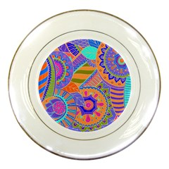 Pop Art Paisley Flowers Ornaments Multicolored 3 Porcelain Plates