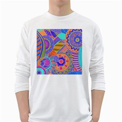 Pop Art Paisley Flowers Ornaments Multicolored 3 White Long Sleeve T Shirts