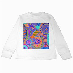 Pop Art Paisley Flowers Ornaments Multicolored 3 Kids Long Sleeve T Shirts