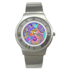 Pop Art Paisley Flowers Ornaments Multicolored 3 Stainless Steel Watch by EDDArt