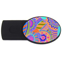Pop Art Paisley Flowers Ornaments Multicolored 3 Usb Flash Drive Oval (4 Gb)