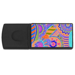 Pop Art Paisley Flowers Ornaments Multicolored 3 Rectangular Usb Flash Drive