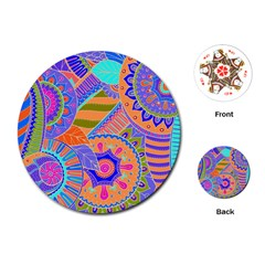Pop Art Paisley Flowers Ornaments Multicolored 3 Playing Cards (round)
