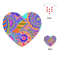 Pop Art Paisley Flowers Ornaments Multicolored 3 Playing Cards (heart)