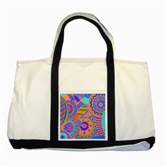 Pop Art Paisley Flowers Ornaments Multicolored 3 Two Tone Tote Bag