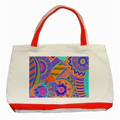 Pop Art Paisley Flowers Ornaments Multicolored 3 Classic Tote Bag (red)
