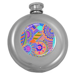 Pop Art Paisley Flowers Ornaments Multicolored 3 Round Hip Flask (5 Oz)