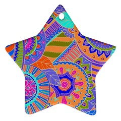 Pop Art Paisley Flowers Ornaments Multicolored 3 Star Ornament (two Sides) by EDDArt