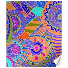 Pop Art Paisley Flowers Ornaments Multicolored 3 Canvas 8  X 10