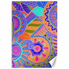 Pop Art Paisley Flowers Ornaments Multicolored 3 Canvas 12  X 18