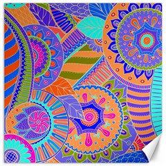 Pop Art Paisley Flowers Ornaments Multicolored 3 Canvas 16  X 16