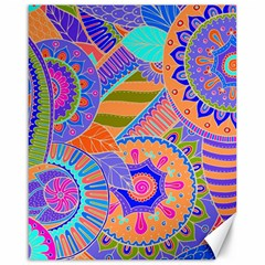 Pop Art Paisley Flowers Ornaments Multicolored 3 Canvas 16  X 20