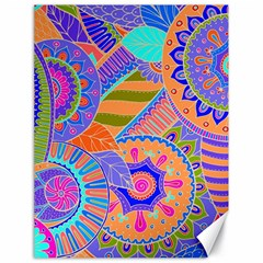 Pop Art Paisley Flowers Ornaments Multicolored 3 Canvas 18  X 24