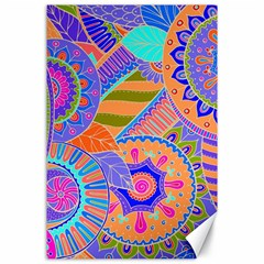 Pop Art Paisley Flowers Ornaments Multicolored 3 Canvas 24  X 36
