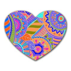 Pop Art Paisley Flowers Ornaments Multicolored 3 Heart Mousepads