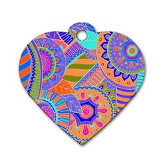 Pop Art Paisley Flowers Ornaments Multicolored 3 Dog Tag Heart (one Side)