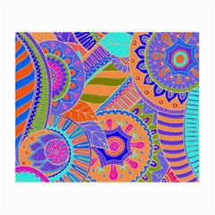 Pop Art Paisley Flowers Ornaments Multicolored 3 Small Glasses Cloth (2 Side)